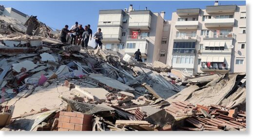 The quake shook Izmir, on Turkey's Aegean Sea