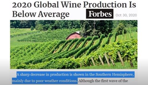 Wine production down