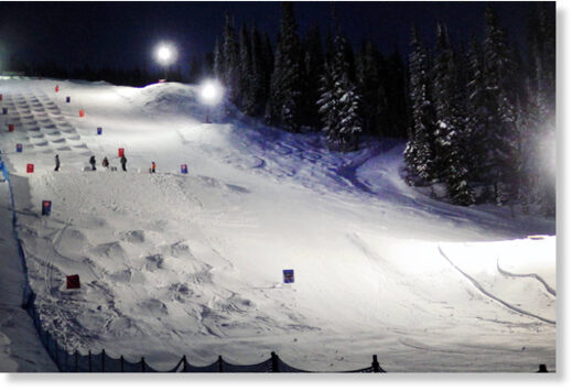 Pictured in 2018, the lighted Kristi's Run mogul course where members of the Canadian men's women's Olympic teams trained before leaving for the Olympics. (Western News - File)