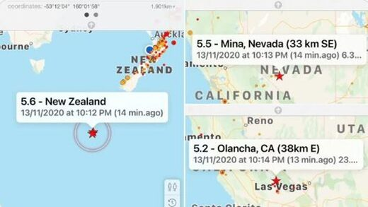 Three M5+ earthquakes