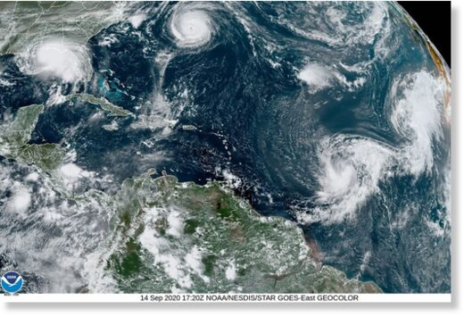 This satellite image shows 5 tropical cyclones