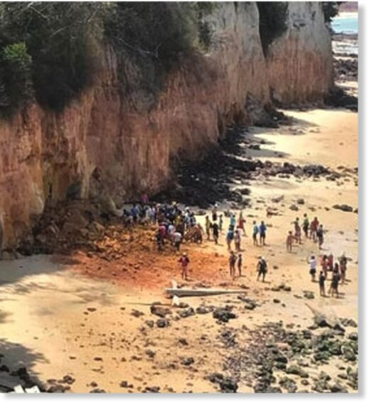 Witnesses said the mum tried to wrap her body around her son to shield him when she saw the cliff coming down