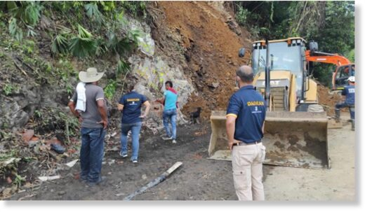 Landslide in Puerto Valdivia Antioquia Colombia, 23 November 2020.