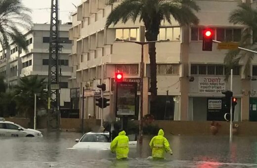 Flooding the the center of Israel following heavy rains