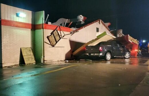 Storm damage in Arlington, Texas