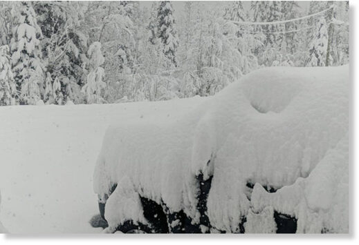 A heavy snowfall in the Chilcotin overnight, as seen here at Ulkatcho First Nation near Anahim Lake on Friday, Nov. 27, has resulted in several downed power lines and the closure of some of Highway 20.