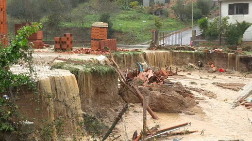 A road has collapsed in the town of Bitti, Sardinia, Italy, on November 28, 2020.