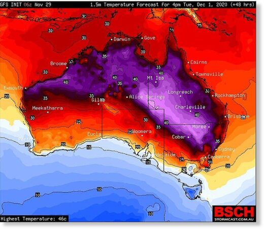 The forecast heat map for the first day of summer with a renewed heatwave across inland eastern Australia