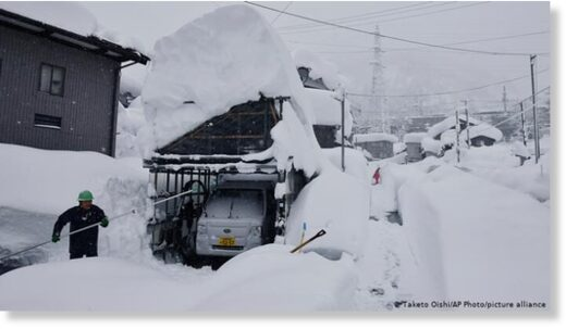 Yuzawa Town is hit by heavy snowfall in Niigata Prefecture