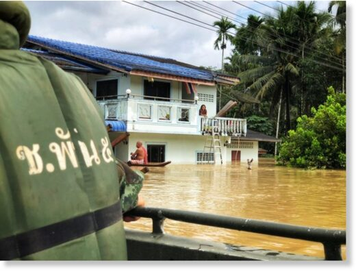 Royal Thai Army distributes relief supplies in Nakhon Si Thammarat Province floods, 03 December 2020.