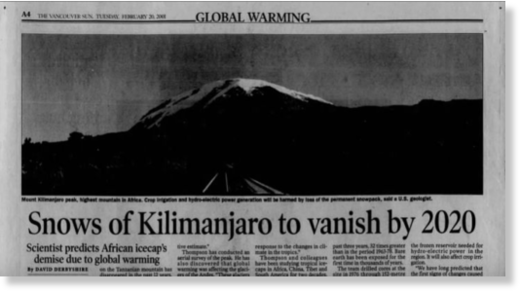 Snows of Kilimanjaro to vanish by 2020