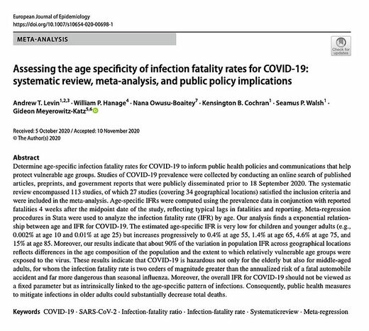age specificity IFR covid-19 review
