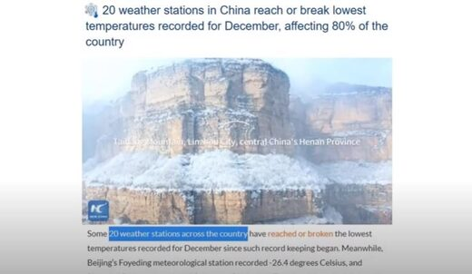 Record cold in China