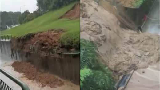 Mudslides captured on video at Loyang Avenue