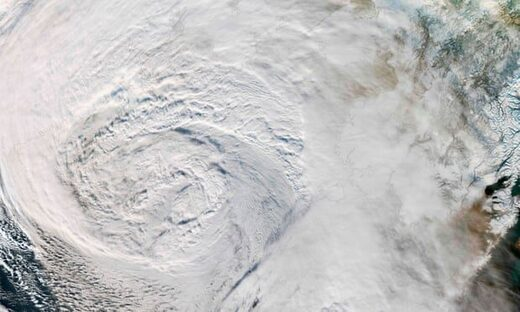 Satellite image showing a storm over the Bering Sea moving towards Alaska