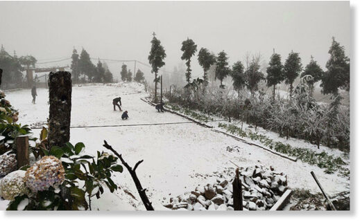 People play with snow in Bat Xat District