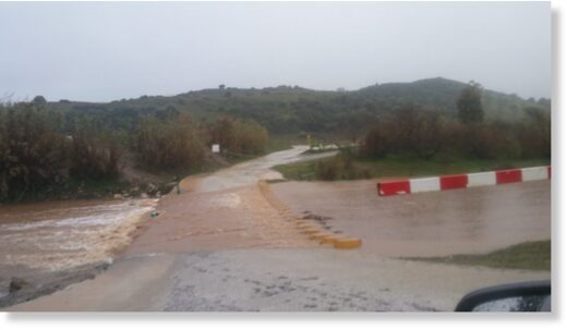 The flooding Fuengirola River in Mijas, Spain,