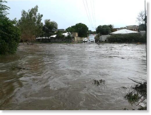 DANGER … Flooding in the Eros suburb of Windho