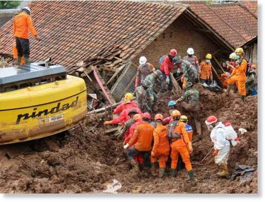 Rescuers search for victims of two landslides that hit Sumedang, West Java