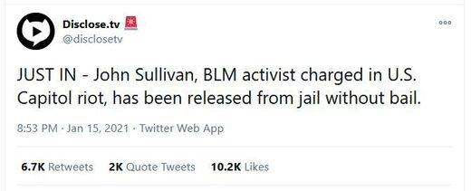 John sullivan antifa released jail