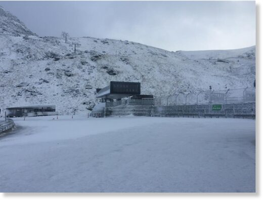 Snow at The Remarkables ski area this morning.