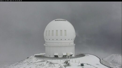 Webcam image captured Tuesday morning by the Canada-France-Hawai'i Telescope on Maunakea.