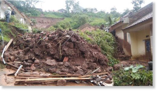 Landslide in Cimanggung District, Sumedang Regency, West Java Province, Indonesia, 09 January 2021, where 24 people died.