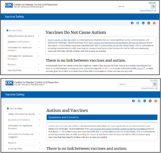 Old Version vs New Version CDC Web