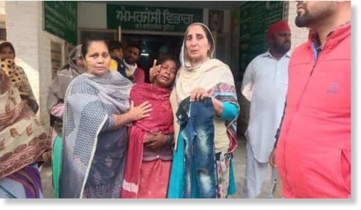 The family and relatives of the victim, Ravnee at a Sangrur hospital. The gruesome incident occurred near a dump yard for dead animals, locally known as 'hadda rodi'.