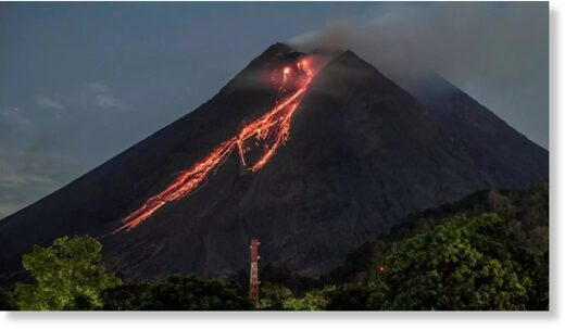 Lava flows down from the crater of Mount Merapi in Yogyakarta, Indonesia