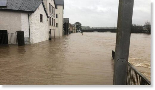 The River Towy burst its banks in Carmarthen on Saturday