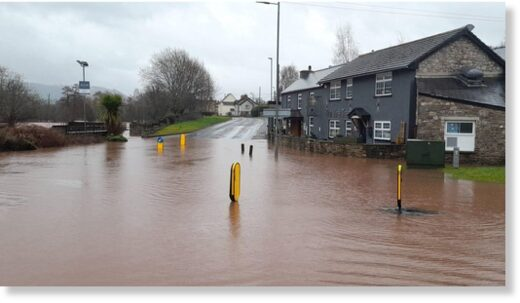 The River Usk has burst its banks, affecting roads in Crickhowell and nearby Llangattock in Powys