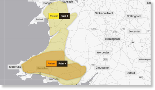 Weather warnings cover large parts of Wales on Saturday