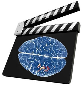 movie slate/brain graphic