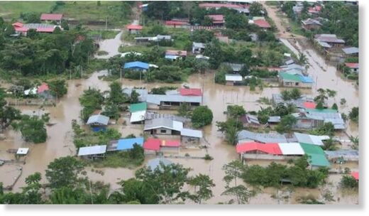 Floods in Madre de Dios, Peru, February 2021.