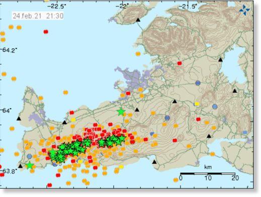 Earthquake activity on the Reykjanes peninsula [Icelandic Met Office].