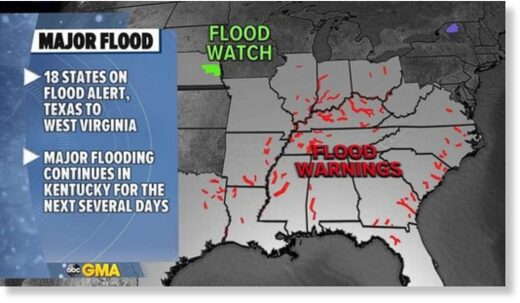 The Kentucky River and Ohio River are most at risk for major to moderate flooding to continue