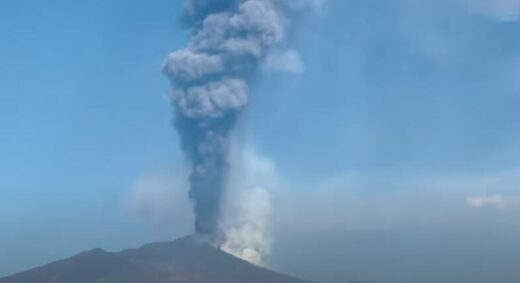Mount Etna ash clouds