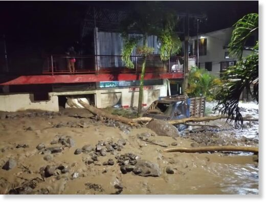 Flash flooding in Dabeiba, Antioquia, Colombia, 22 March 2021.