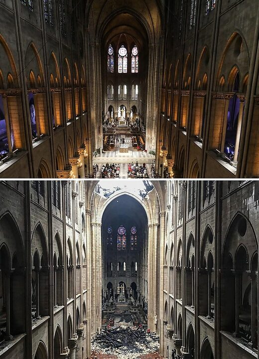 notre dame nave before after fire