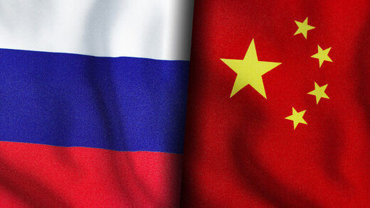 russia china flag