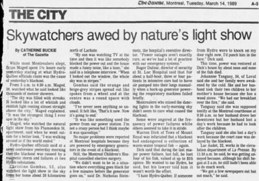 report of the Great Quebec Blackout in Montreal's newspaper, the Gazette