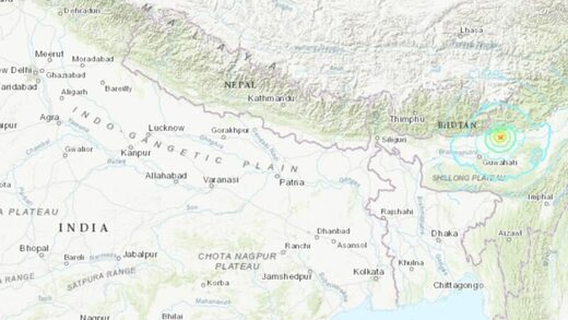 Assam, India quake map
