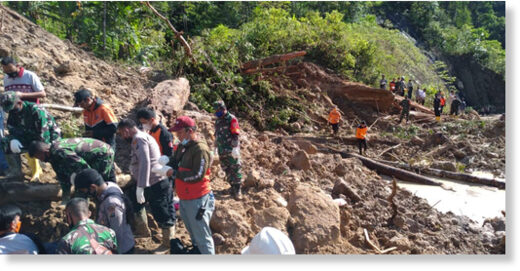 Search and rescue operations after a landslide in South Tapanuli Regency.