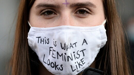 feminist facemask woma