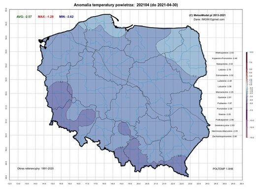 Average April temp anomalies in Poland