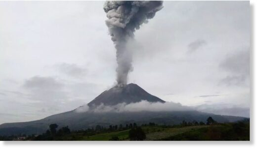Mount Sinabung erupted on Friday,