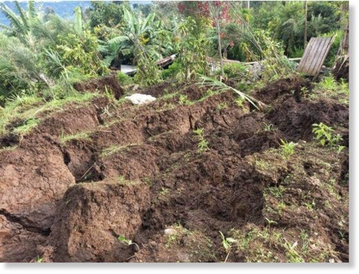 Landslide damage in Nyamasheke district, Rwand