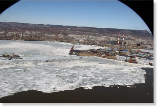 Ice jams and snow melt caused the Amur River to rise in Khabarovsk, Russia, May 2021