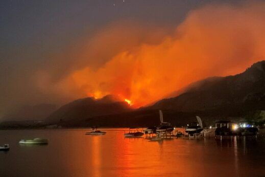Smoke billows from a wildfire near Osoyoos, British Columbia, Canada